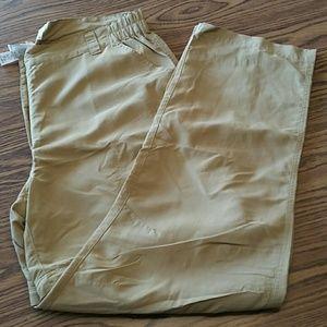 LL bean women's no fly zone zip pants, L, tan